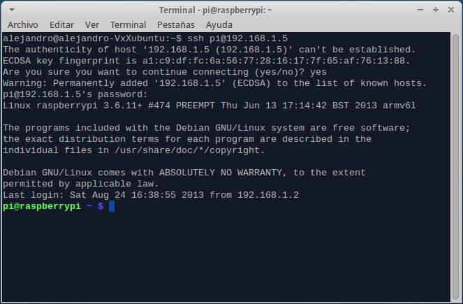 Como conectarse a la raspberry pi mediante ssh