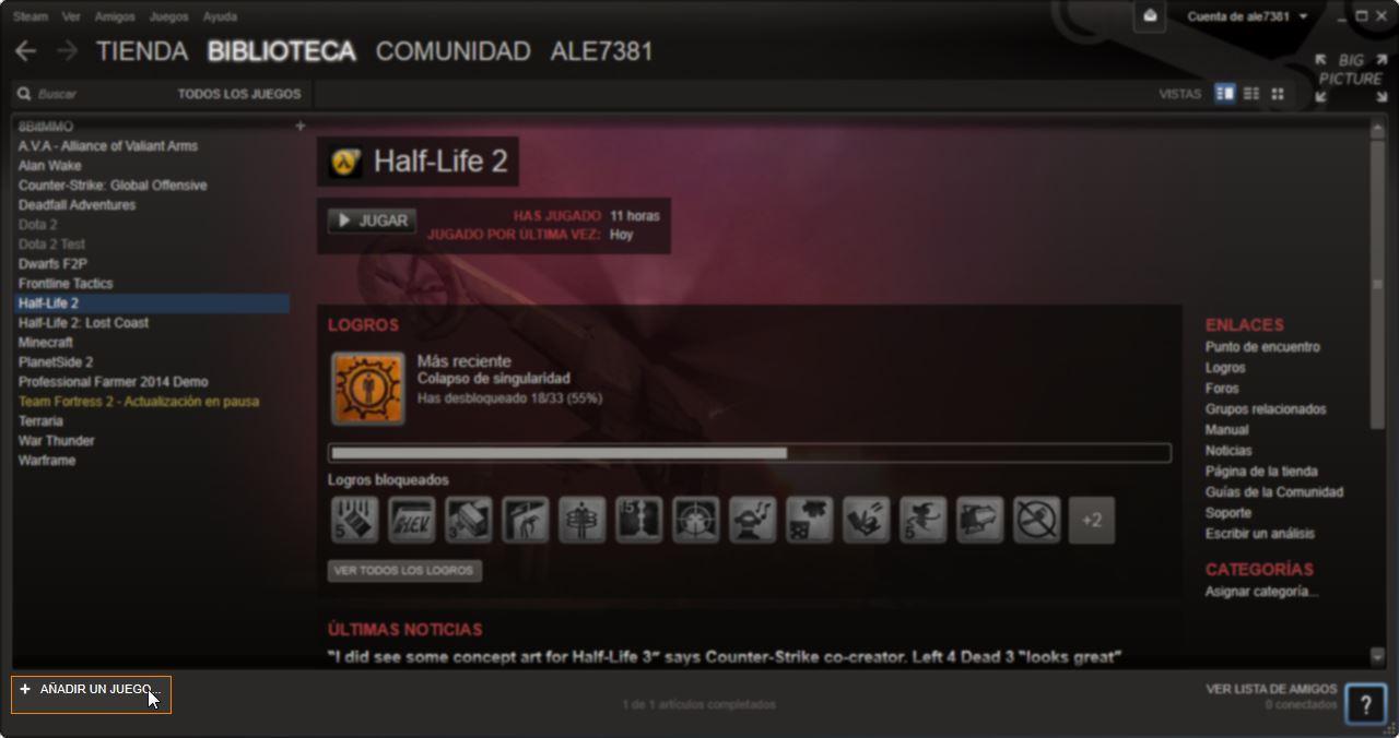 agregar juegos en steam