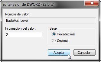 Owncloud-Editar valor de DWORD (32 bits)