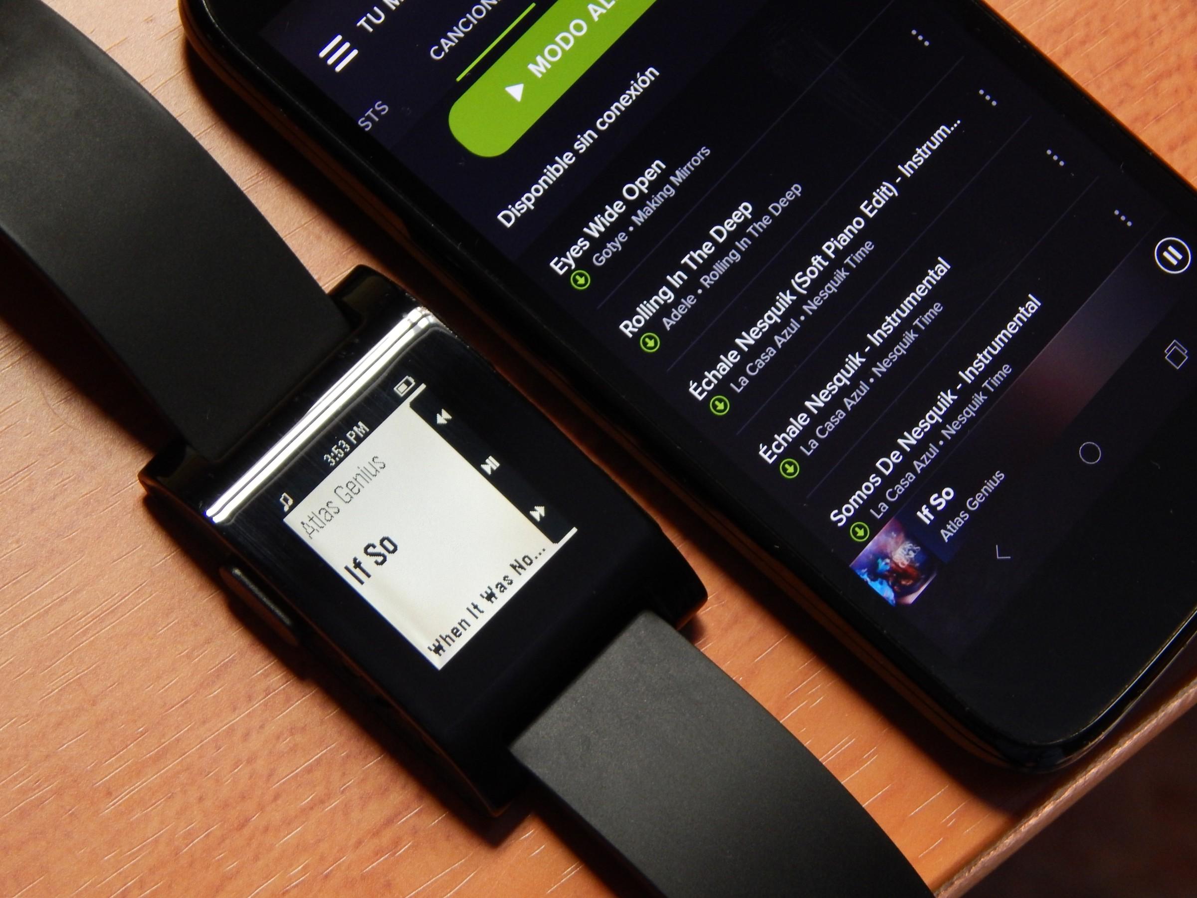 spotify funcionando en el pebble