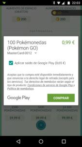 Comprando monedas en Pokémon Go